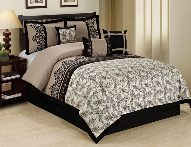 Awesome 7 Piece Lupe Black/Taupe Comforter Set Great Ideas