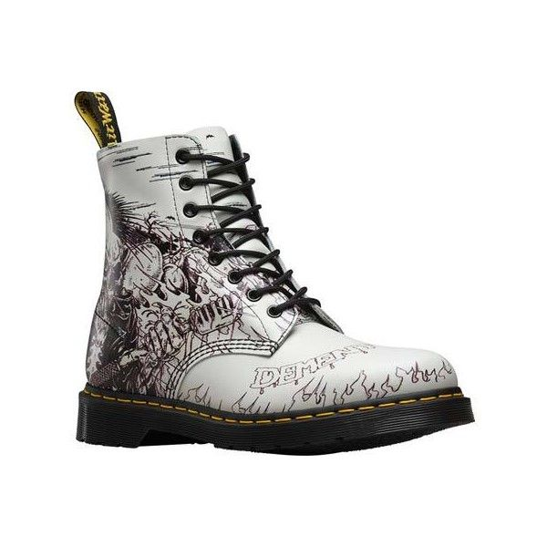 Dr. Martens Pascal 8 Eye Boot - Black and White Demented Are Go... ($140) ❤ liked on Polyvore featuring shoes, boots, punk rock boots, black white boots, punk boots, punk shoes and dr martens shoes