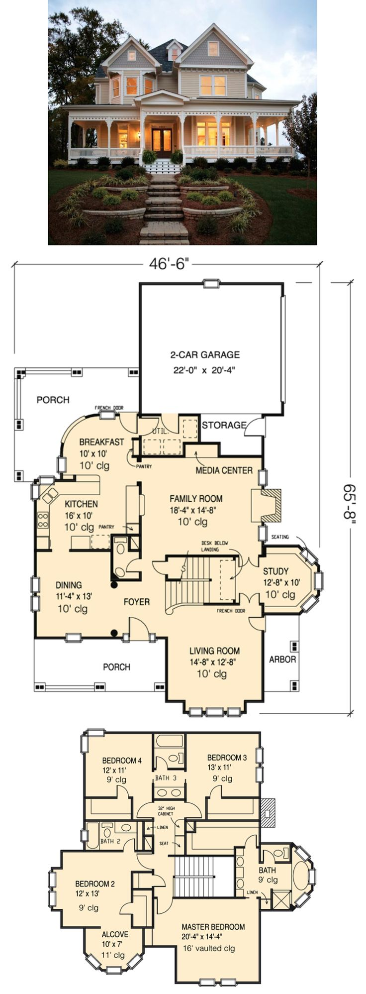 Country Farmhouse Victorian House Plan 95560