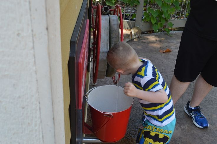 Max Getting a Drink from the Fire Hose at Silver Dollar City