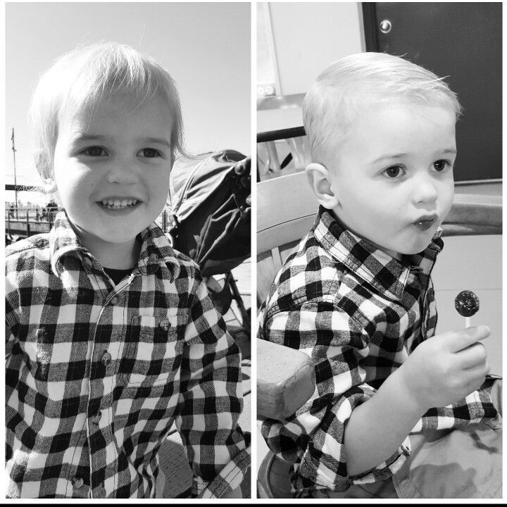 First haircut! All grown up. He went from toddler shaggy to little boy side part. So so cute!
