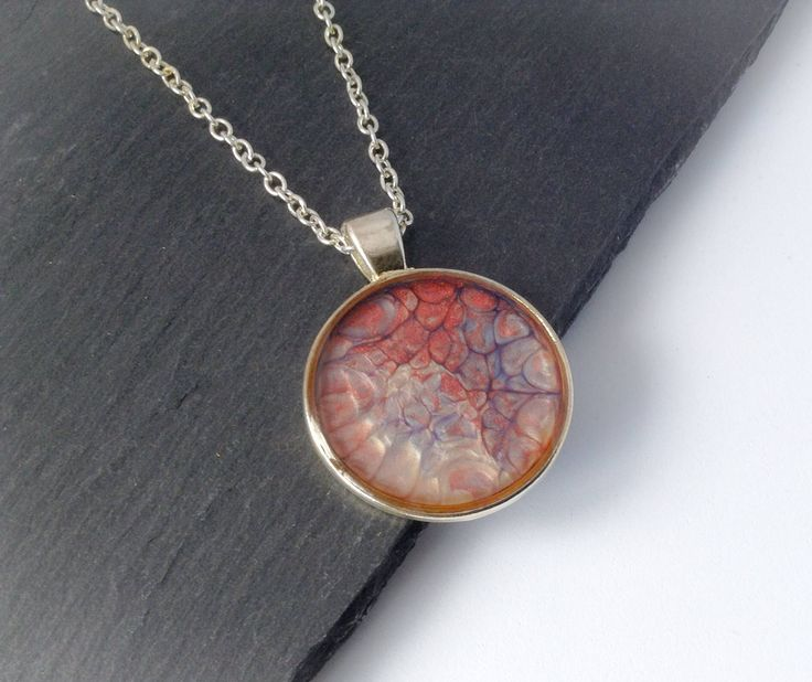 Gift For Mum From Daughter, Abstract Pendant, Resin Necklace, Original Gift For Her, Pebeo Pendant, Birthday Present For Mum by BeadsofCreation on Etsy