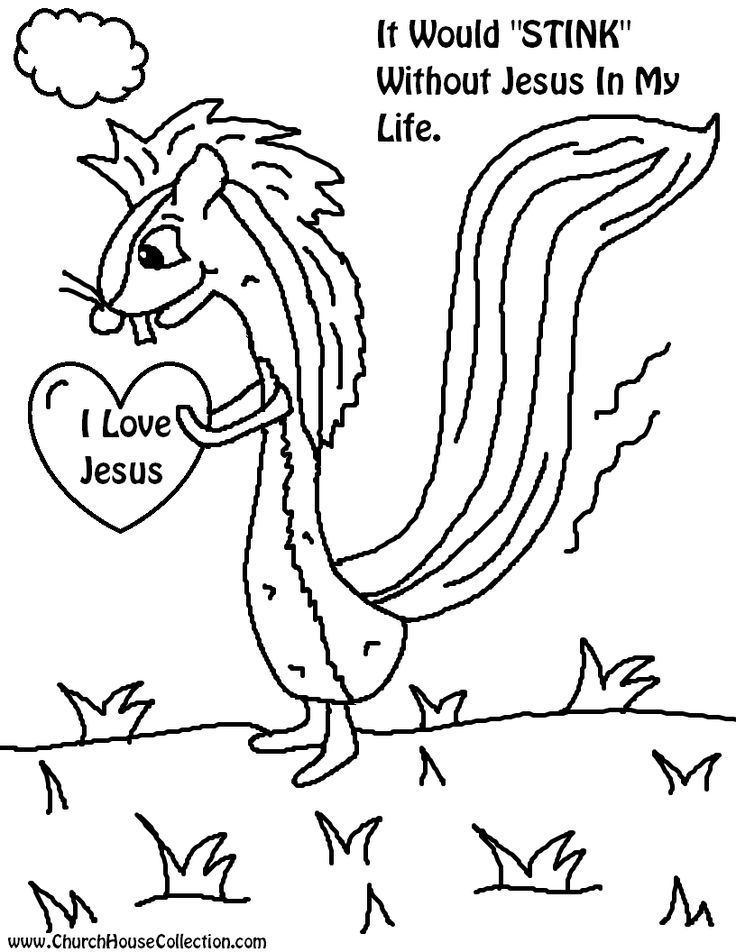 Valentine 39 s day skunk coloring page it would stink for Free valentine coloring pages for sunday school