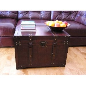 Gold Rush Steamer Trunk Wood Storage Wooden Treasure Chest-for toy storage