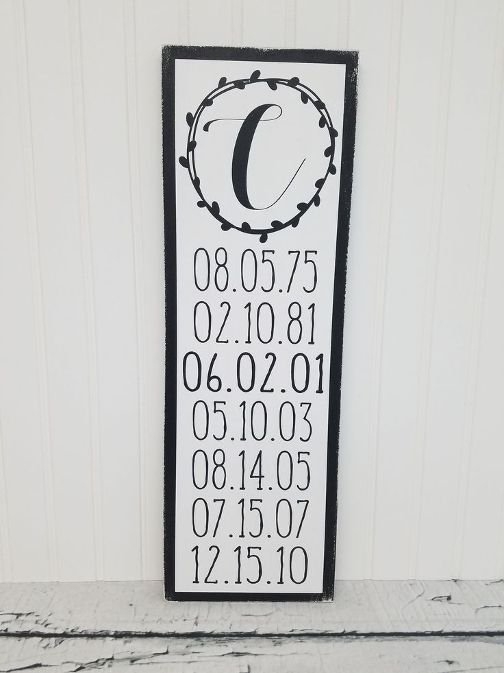 Farmhouse Style Family Date Sign - Distressed - Customized with Family Birthdays & Wedding Date - 7.25x22 in size and Colors of Your Choice