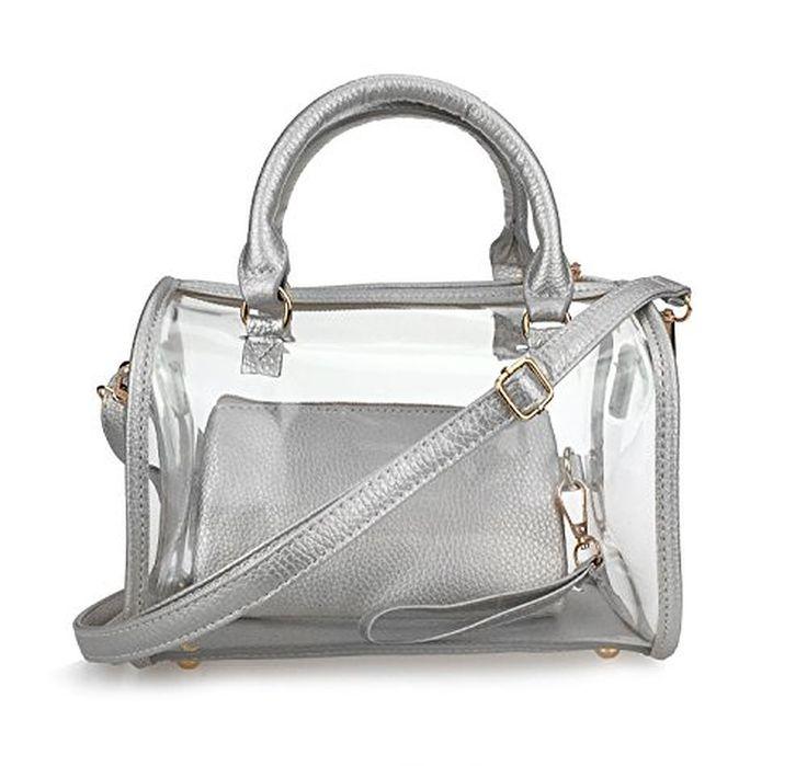 Hoxis Summer Shiny Candy Boston Shoulder Handbag 2 in 1 Bag in Bag Transparent Satchel 9.8 X 5.9 X 7.1 Inches