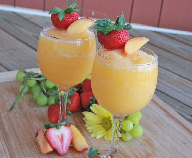 Peach moscato wine slushies - only 3 ingredients