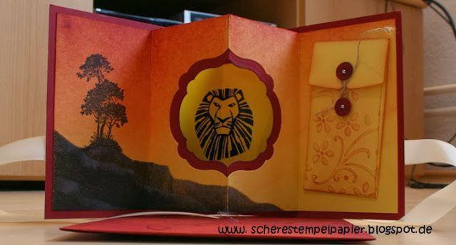 Schere, Stempel, Papier: Geburtstagsgutschein für König der Löwen/ Birthday Giftcard for Lion King