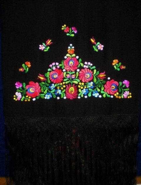 Hungarian handmade, embroidered scarf made in Matyó style.