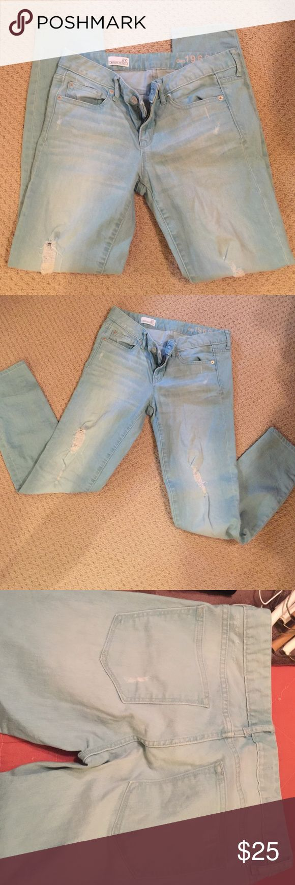 Light denim hole-y gap jeans Always skinny GAP Light colored denim jeans with holes and rips. Worn only a few times GAP Pants