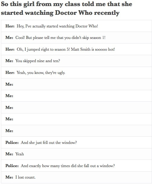 """""""Please tell me you didn't skip season 1"""" I love how this combines Sherlock and Doctor Who!!!!"""