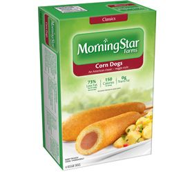 MorningStar Farms® Veggie Corn Dogs – 150 calories per dog! (See nutrition information for sodium content.)