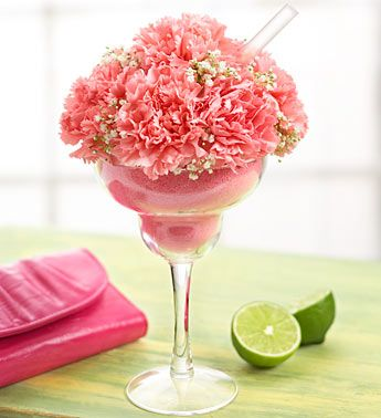 Pink Mini Margarita - pink carnations in floral foam, accented with fresh gypsophilia