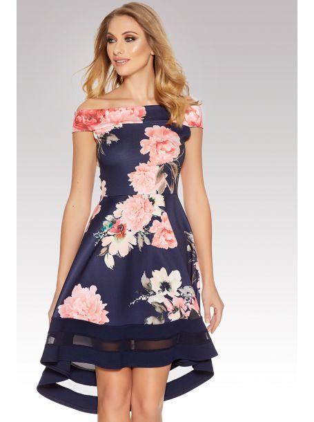 Navy And Pink Flower Print Bardot Dip Hem Dress