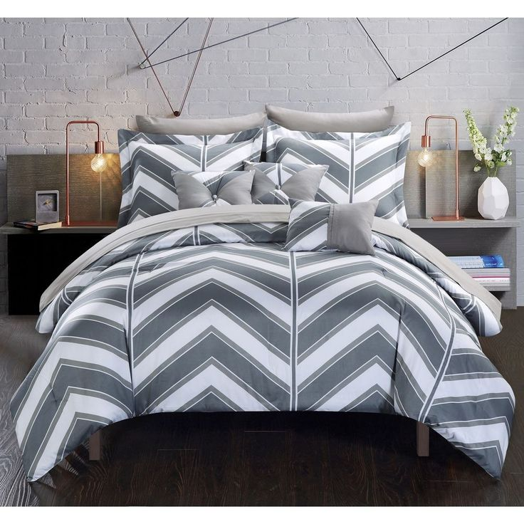 chic home roxy grey 10piece bed in a bag with sheet set
