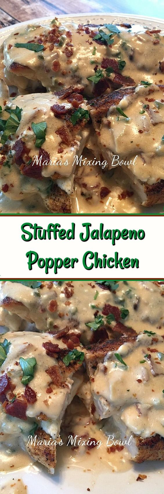 Stuffed Jalapeno Popper Chicken - Low carb never tasted so good! This quick and easy Stuffed Jalapeno Popper Chicken will become one of your favorite meals! #stuffed #jalapeno #popper #chicken #lowcarb #keto #delicious