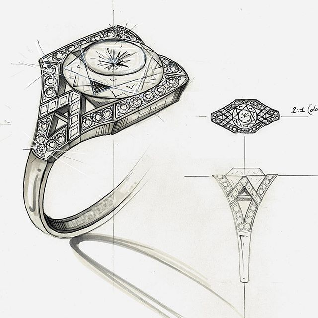 Instagram media by olgacorsini - Drawing for a unique customized creation #olgacorsini fine jewelry !