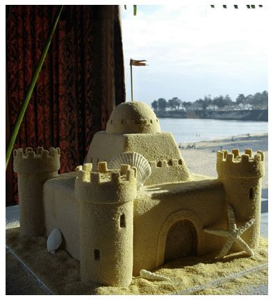 One of our most popular cakes - our beach sandcastle!