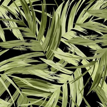 Tropical Fern Uncoated Fabric Black 150 cm