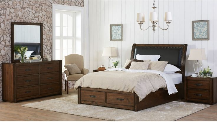 Introduce a modern country feel into your bedroom with the 'Texas'. Presenting a beautiful blend of rustic charms and smart storage, it's constructed from combination Oak Veneer with a Burnished Oak finish that you'll adore. Available as a 4-piece bedroom suite in queen or king size, and comes with two bedside tables and a dresser with mirror. Love the look? Complete your bedroom with a tallboy, also available to order. Learn more: http://j.mp/1JEFL3c