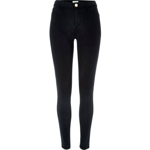River Island Navy sateen finish Molly jeggings ($80) ❤ liked on Polyvore featuring pants, leggings, jeans, jeggings, navy, women, navy blue jeggings, navy jeggings, jeggings leggings and navy blue trousers