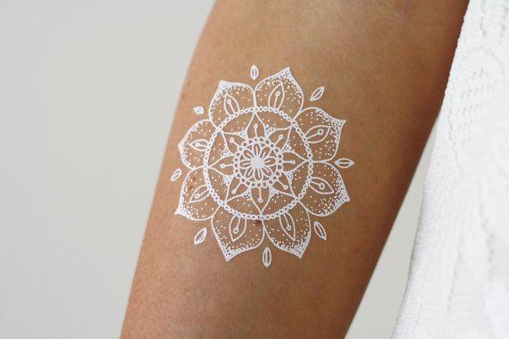 Small White Henna Mandala Temporary Tattoo   Tattoorary