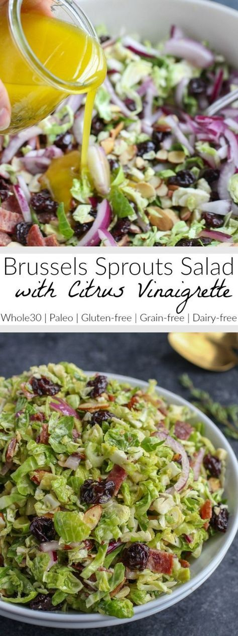 Brussels Sprouts Salad with Citrus Vinaigrette   Shredded Brussels sprouts are a hearty stand in for lettuce in this delicious salad that's studded with toasted almonds, tart dried cherries and smoky bacon   Whole30   Paleo   Gluten-free   Dairy-free   therealfoodrds.com