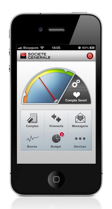Services mobiles, Application iPhone – Société Générale