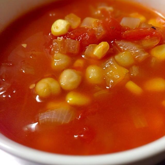 ダイエットメニューとして作ってみました。  ひよこ豆大好きです。 - 66件のもぐもぐ - ひよこ豆とコーンのトマトスープ。。 by porco1959