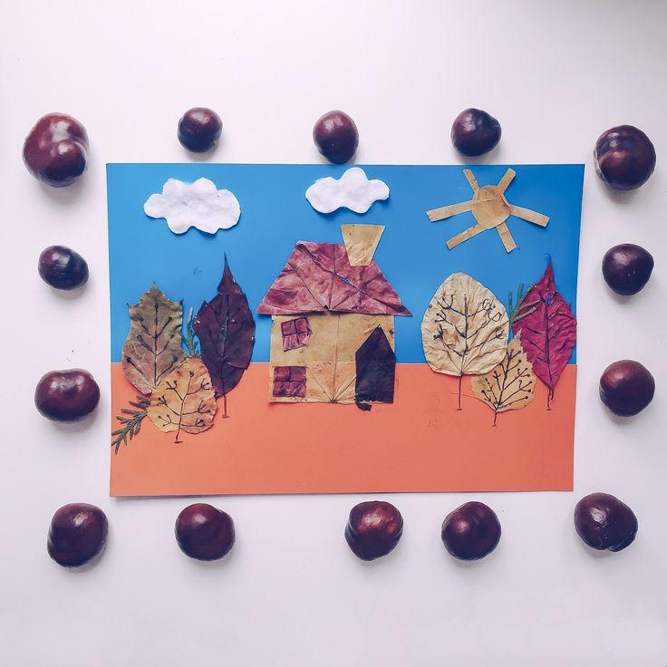 Продолжаем делать осенние поделки🍁. Эту аппликацию мы делали аж три дня🙈. В первый деть подготавливали материал. Я просила Егорчика подать мне листик клена, березы и т.д., а сама потом вырезала из них детали. И в этот же день мы нарисовали карандашами похожую картинку с домиком, лесом и тучками. На следующий день, смотря на вчерашнюю нарисованную картинку, Егорчик показывал куда клеить детали, я наносила туда клей, а он приклеивал. Ну а на третий день по готовой аппликации мы искали…