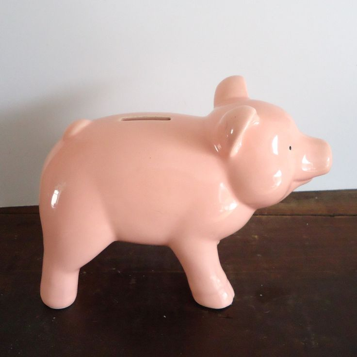 Vintage piggy bank, coin bank, savings bank, retro kitchen decor, pink pig nursery decor, ceramic by RaggedyRee on Etsy