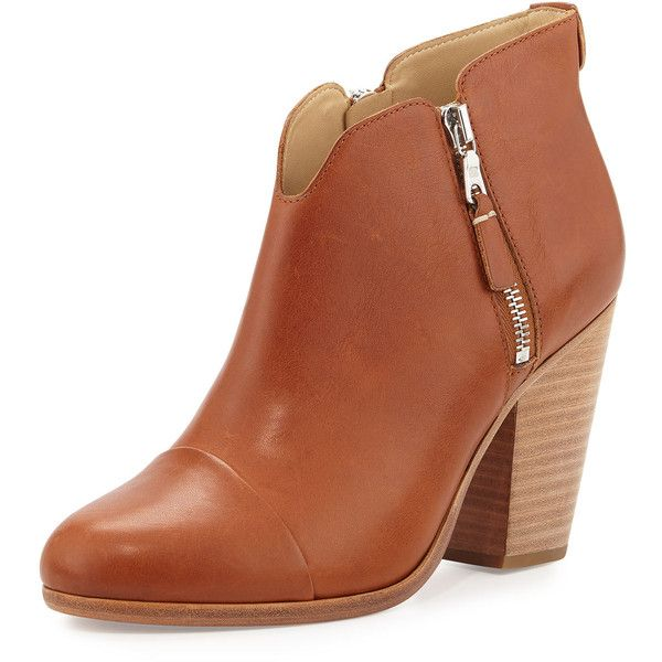Rag & Bone Margot Side-Zip Ankle Boot (1.560 BRL) ❤ liked on Polyvore featuring shoes, boots, ankle booties, tan, leather ankle boots, bootie boots, short leather boots, block heel ankle boots and zip ankle boots