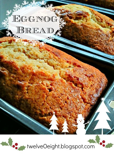 Eggnog Quick Bread-easy and yummy! Reminds me of a pound cake. I made without the rum extract..didn't have any, so substituted with vanilla. Nutmeg amount seems like a lot, but is good.
