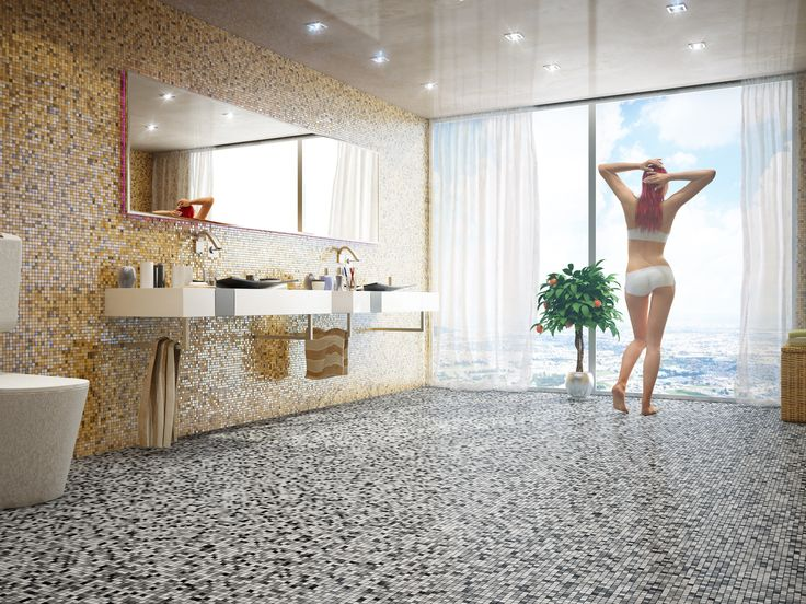 Wellness-Atmosphäre im Bad  für zu Hause: die Kombination mit Mosaik  erfreuen die Sinne.   .Projektbilder Mosaic Mosaik Fliese   www.mosaicoutlet.de