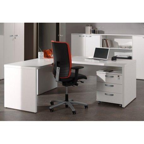 Magnifique bureau pour professionnels avec un grand espace rangement! Le panneau de particules de haute qualité est recouvert par une couleur blanche très so...