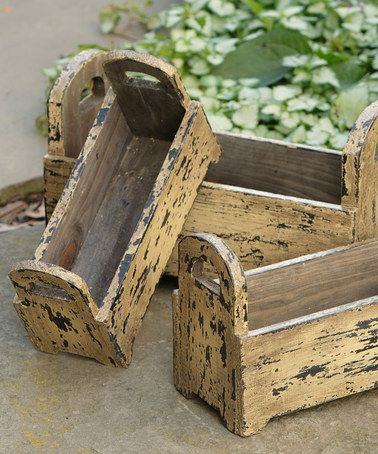 Look what I found on #zulily! Distressed Tan Wooden Box Planter - Set of Three #zulilyfinds