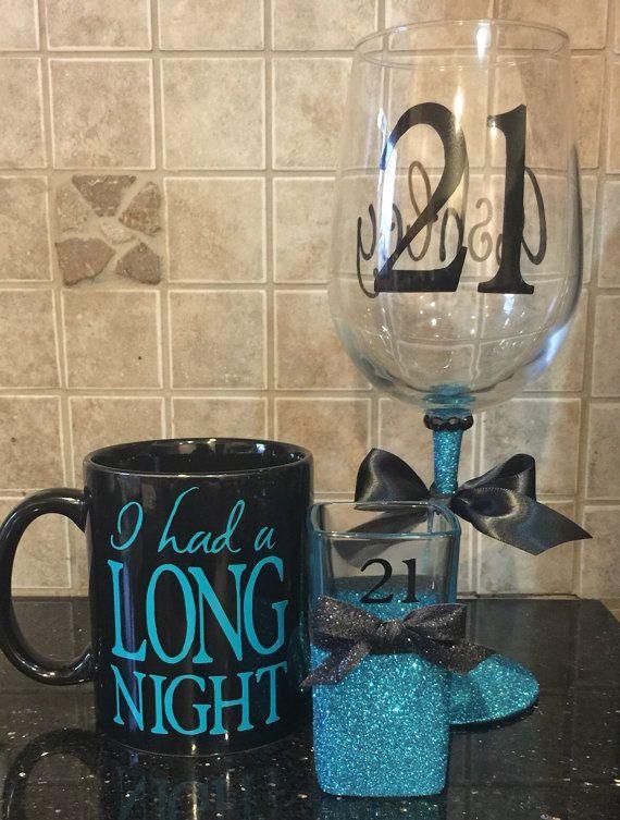21st birthday glitter wine glass in blue with by GlitzyGlitterGal