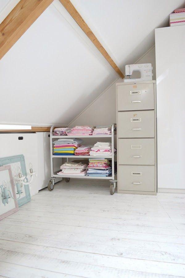 Trolley of fabrics in attic craft room