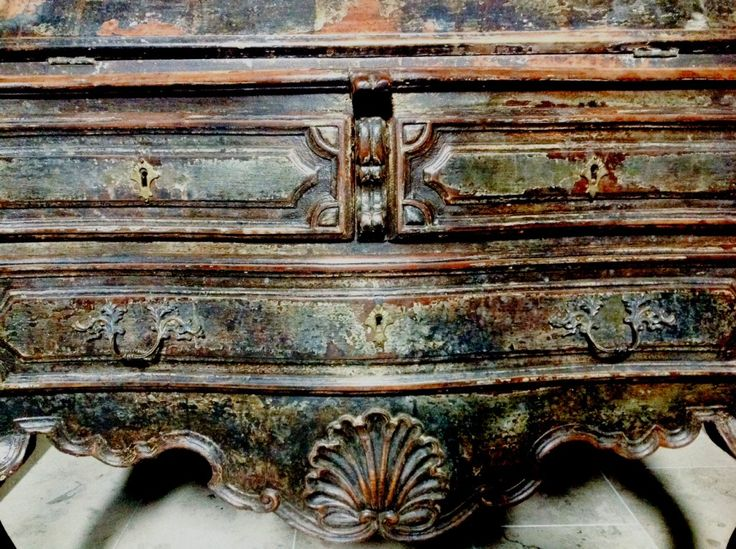 "Toma Clark Haines - Chipped and worn, my 18th Century Spanish Secretaire with original black paint is the definition of ""wabi-sabi"" a Japanese aesthetic made fashionable by the Belgian designer Axel Vervoordt that promotes the beauty of imperfection.wabi sabi."