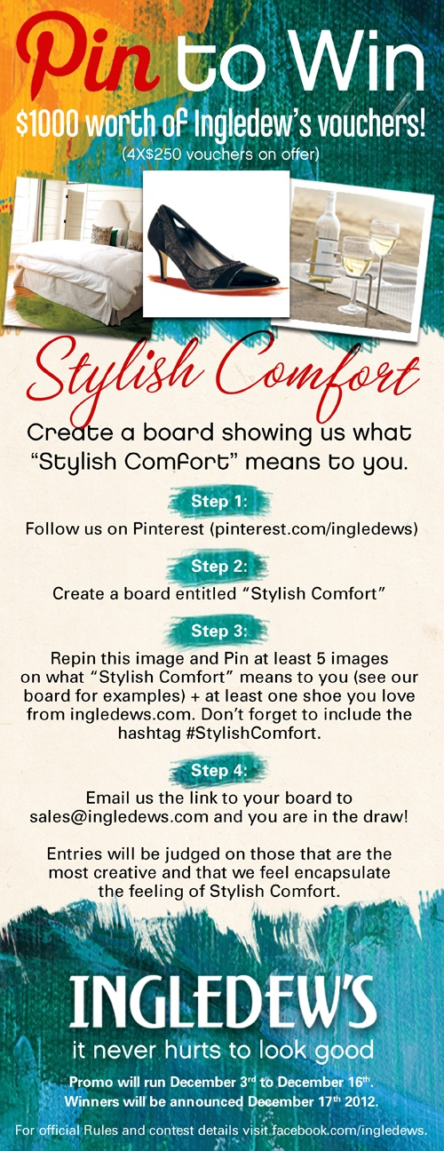 #stylishcomfort   Pick me.  Your next winner!  Show me the money!  It would be a dream come true and means a lot more to me than anyone else to win the prize.  Starving artist here desperately needs $1000 Ingledew's vouchers .  A life changing experience.  Top of my bucket list.