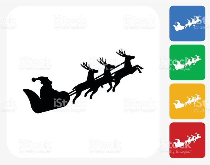 Santa cláusula de trenó plana ícone de Design gráfico vetor e ilustração royalty-free royalty-free
