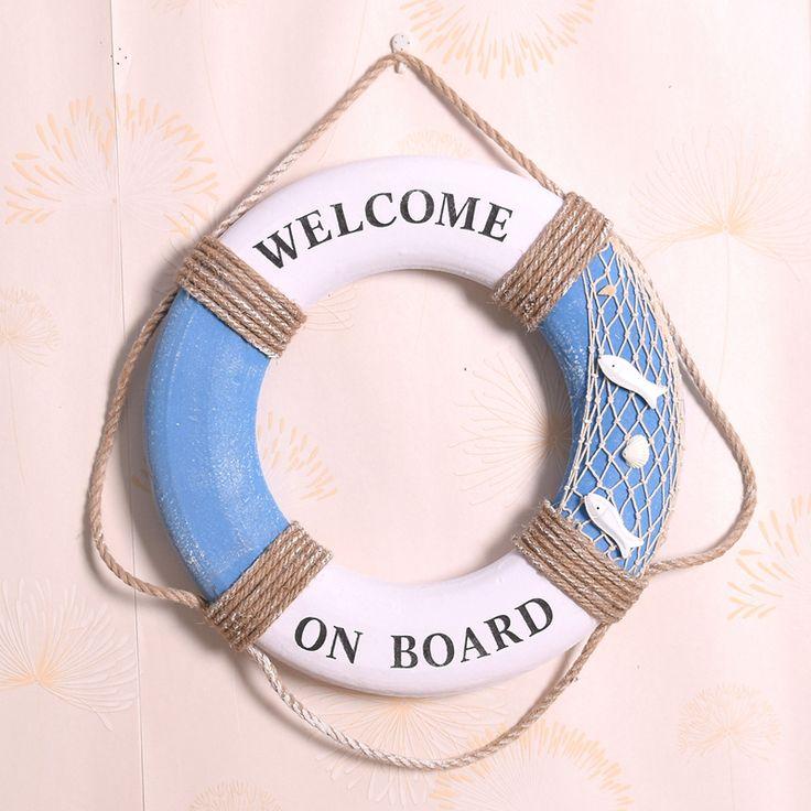 """Barato 35 CM estilo mediterrâneo """" bem vindo a bordo """" rede de pesca algodão…"""