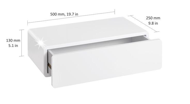 CASSY Wandregal mit Schublade | 500x250x130 mm | weiß hochglanz