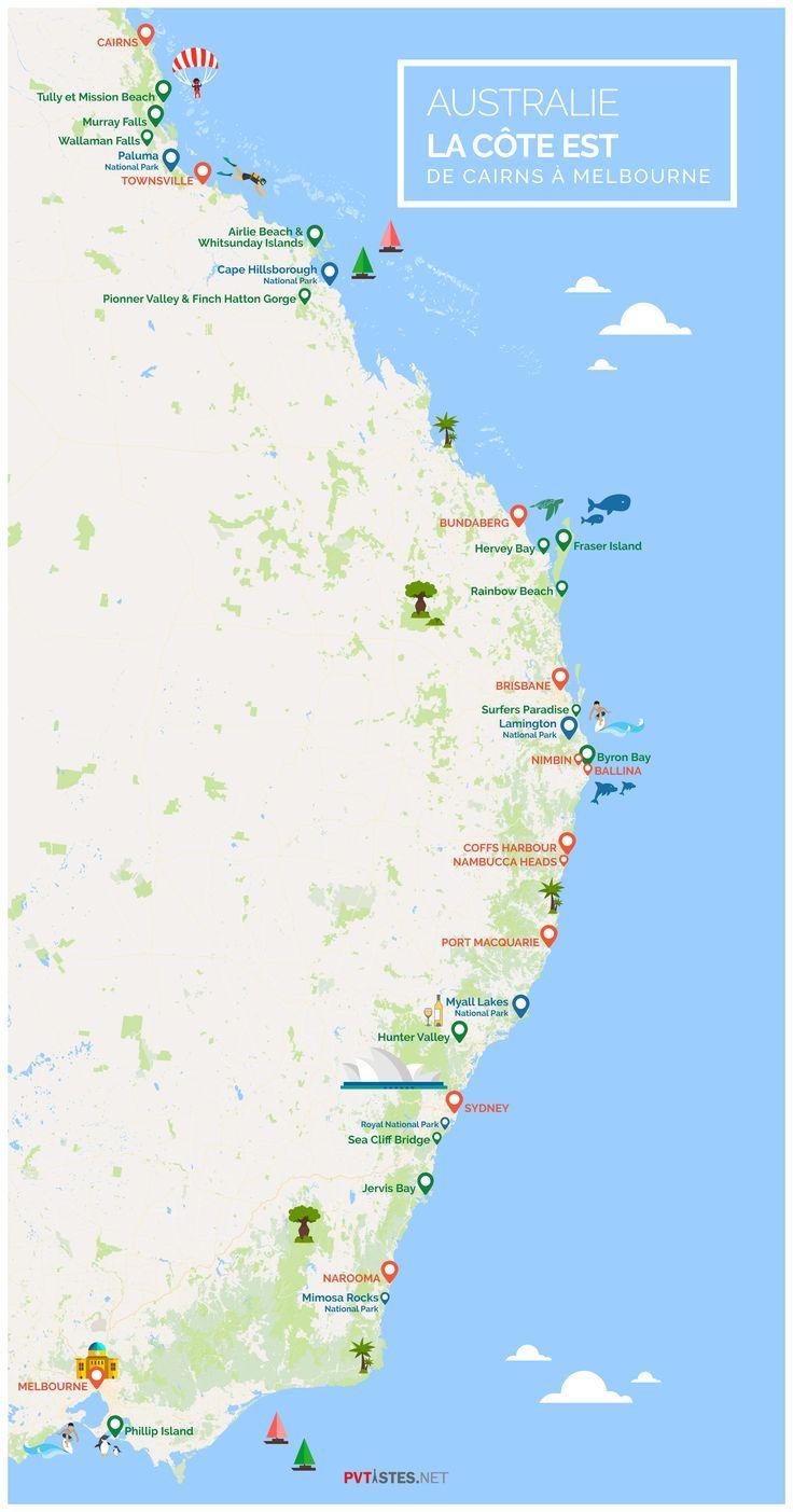 Carte Australie Cote Est Road Trip Australie Australie Voyage Australie