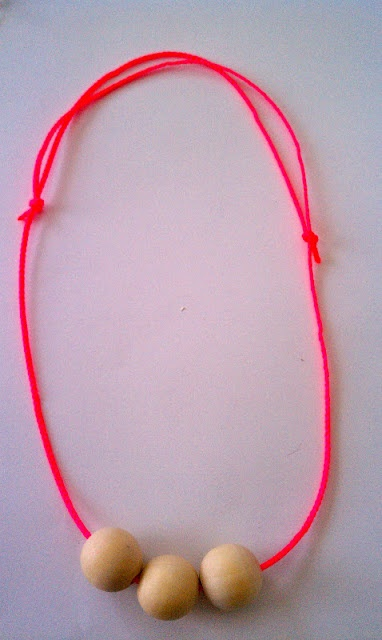 neon and wood necklaces