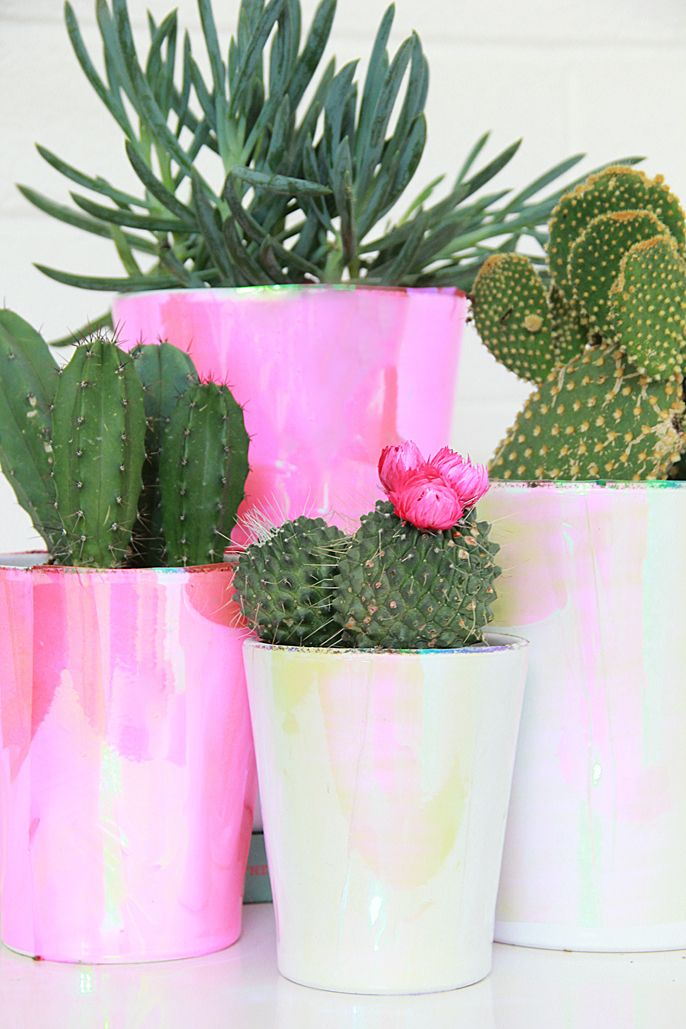 A Bubbly Life: DIY Holographic Plant Pots