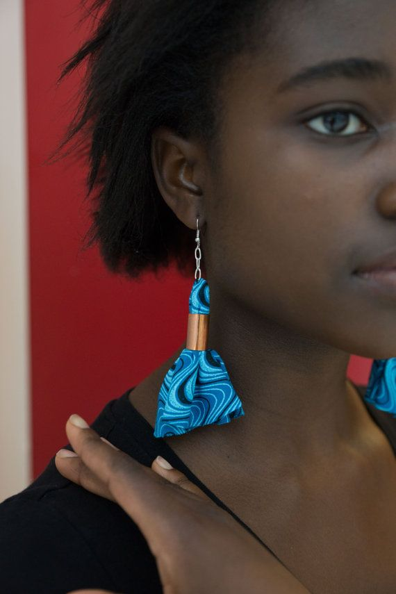 Blue African wax print unique earrings fabric by Khokhodesigns