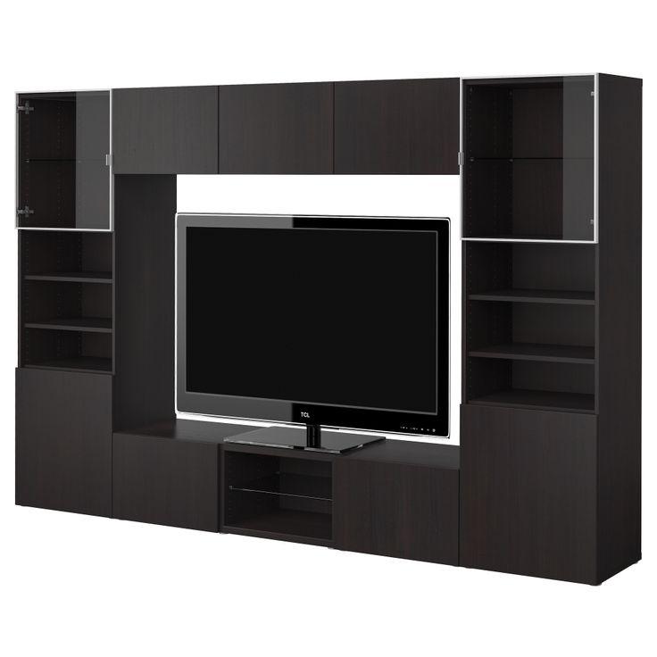 BESTÅ TV storage combination - black-brown/high gloss black - IKEA