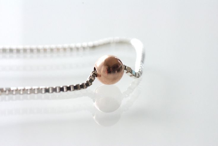 Sterling Silver Choker, Rose Gold Orb Silver Chain Choker Mixed Metal Necklace Rose Gold Necklace Silver Layering Necklace Rose Gold Choker by BaileyBespoke on Etsy