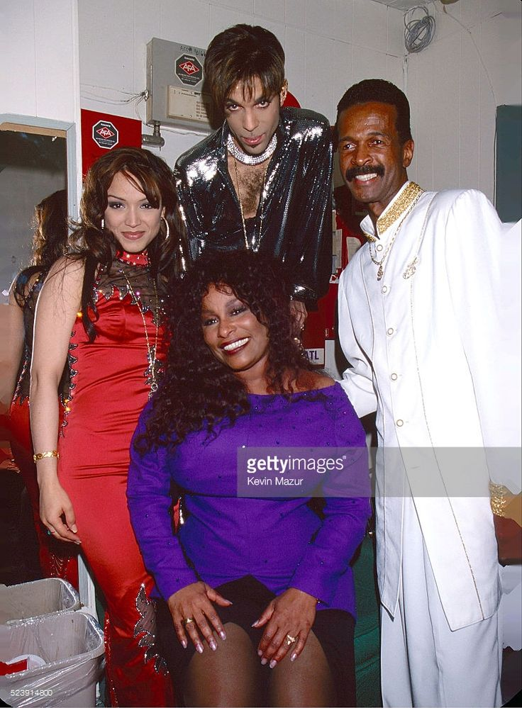 Mayte Garcia, Prince (1958-2016), Chaka Khan and Larry Graham backstage at Irving Plaza on April 10, 1998 in New York City.